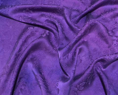 Lavender Purple Floral - Hand Dyed Silk Jacquard