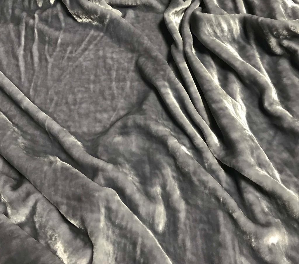 Silver Gray - Hand Dyed Very Plush Silk Velvet