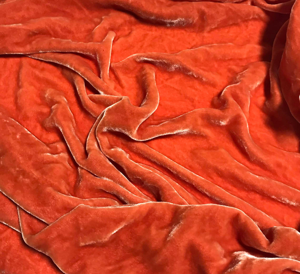 Blood Orange  - Hand Dyed Silk Velvet