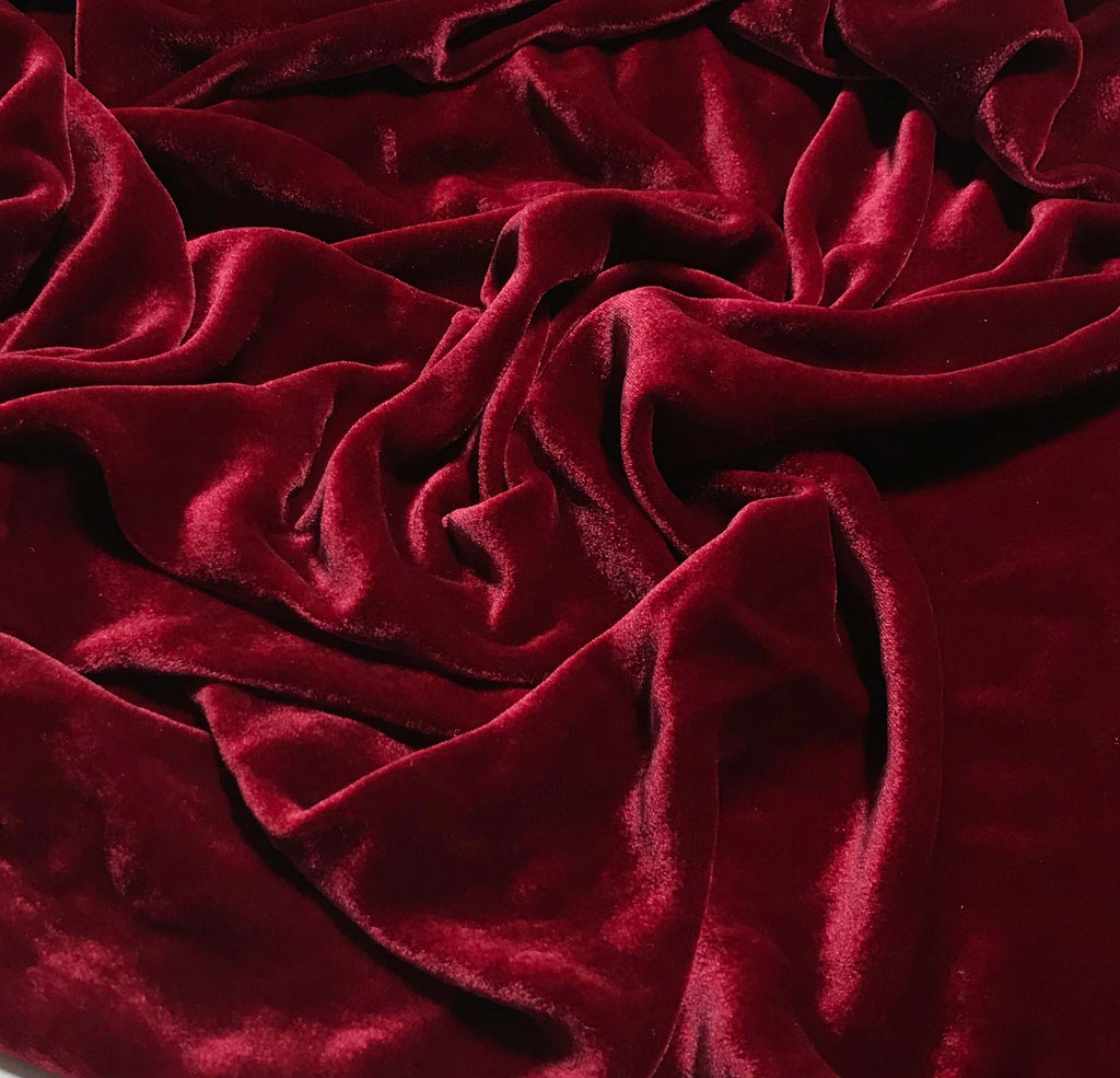 Deep Red - Hand Dyed Silk Velvet