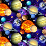 In Space Planets Black - Elizabeth's Studio Cotton Fabric