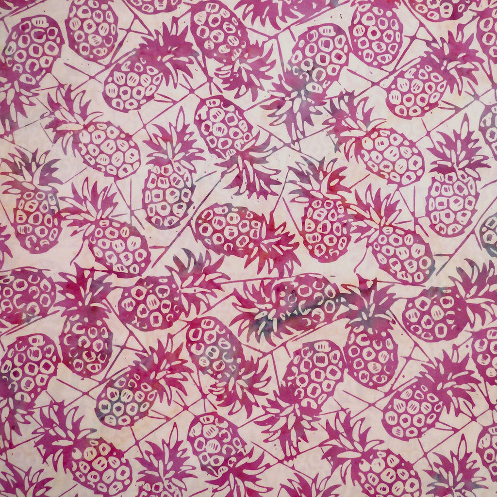 Meer Rosa Pineapples - Spring Awakening - Batik by Mirah Cotton Fabric