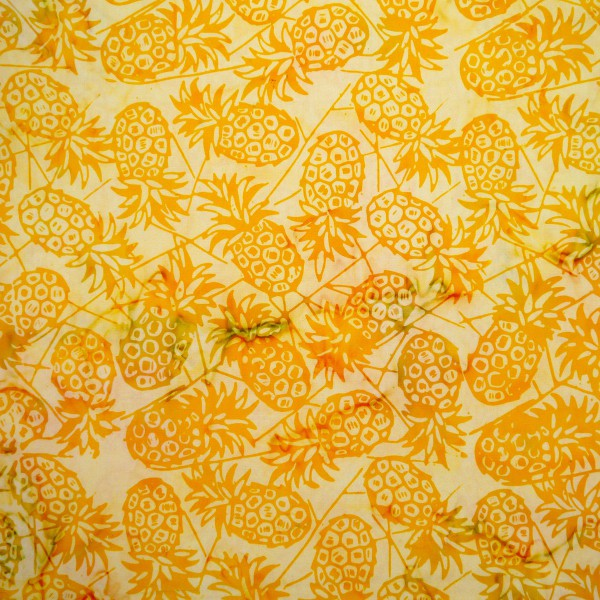 New Daffodil Pineapples - Cloudberry - Batik by Mirah Cotton Fabric