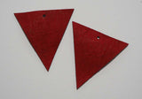 Triangle - Laser Cut Shapes 2 Pc - Red Lambskin Leather