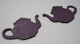 Teapot - Laser Cut Shapes 2 Pcs - Plum Purple Lambskin Leather