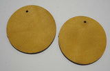 Circle - Laser Cut Shapes 2 Pc - Mustard Yellow Lambskin Leather