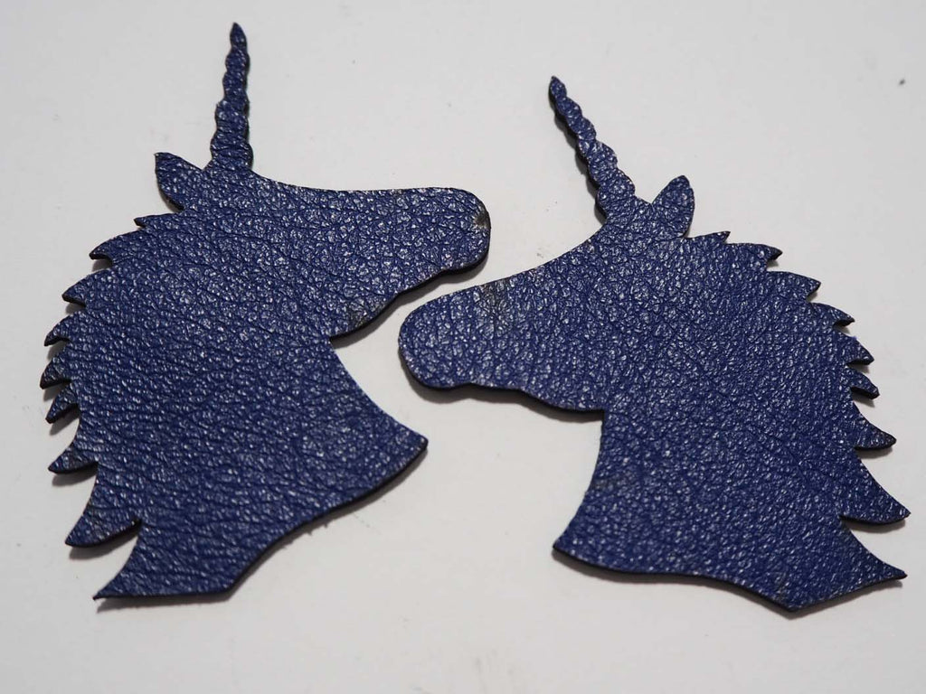 Unicorn - Laser Cut Shapes 2 Pc - Blue Lambskin Leather