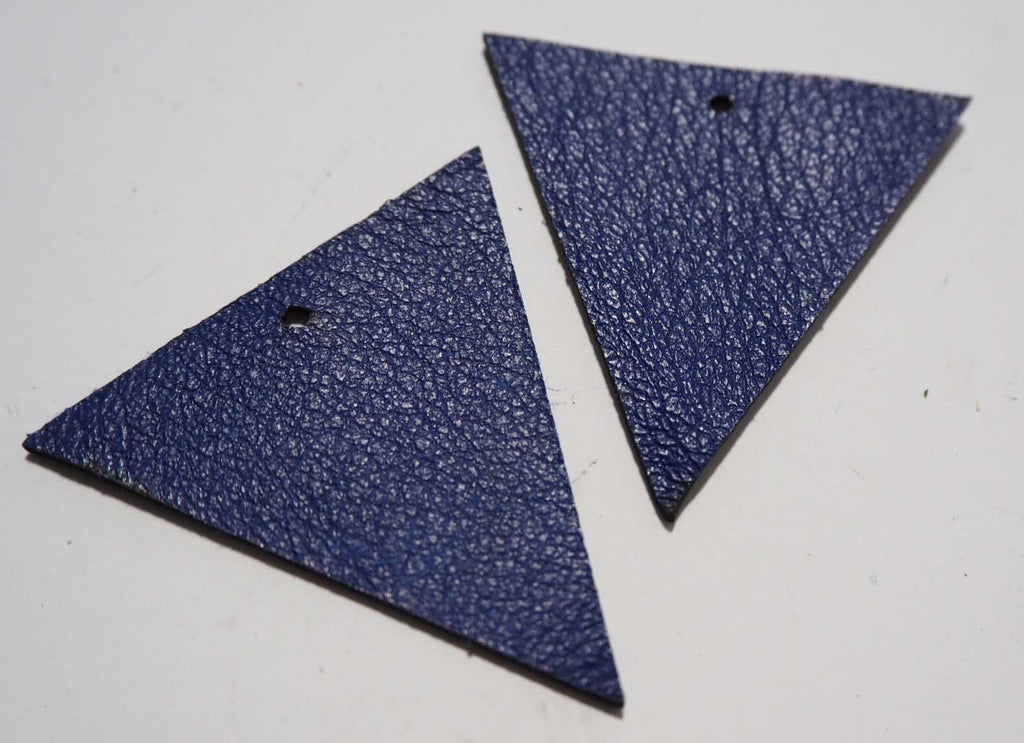 Triangle - Laser Cut Shapes 2 Pc - Blue Lambskin Leather