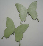 Butterfly - Laser Cut Shapes 2 Pcs - Light Green Lambskin Leather