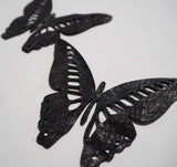 Butterfly - Laser Cut Shapes 2 Pc - Black Lambskin Leather