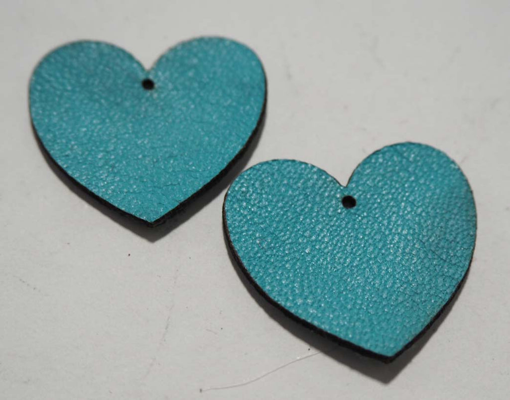 Heart - Laser Cut Shapes 2 Pcs - Aqua Lambskin Leather
