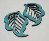 Leaf - Laser Cut Shapes 2 Pcs - Aqua Lambskin Leather