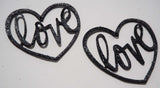 Love Heart - Laser Cut Shapes 2 Pc - Black Lambskin Leather