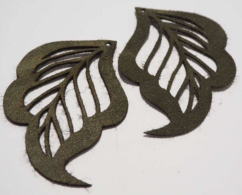 Cut Out Leaf- Laser Cut Shapes 2 Pc - Olive Green Suede Lambskin Leather