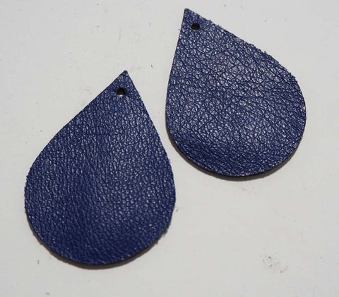 Teardrop - Laser Cut Shapes 2 Pc - Blue Lambskin Leather