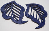 Cut Out Leaf- Laser Cut Shapes 2 Pc - Blue Lambskin Leather