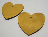 Heart - Laser Cut Shapes 2 Pc - Mustard Yellow Lambskin Leather