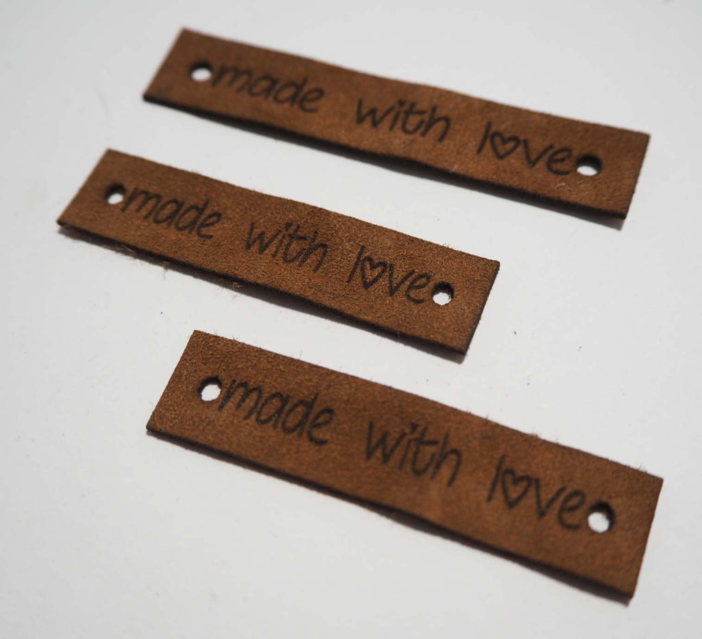 Made With Love - Laser Cut Tags 2 Pc - Brown Lambskin Leather