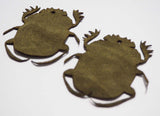Scarab - Laser Cut Shapes 2 Pc - Olive Green Suede Lambskin Leather