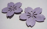 Flower - Laser Cut Shapes 2 Pcs - Lavender Purple Lambskin Leather