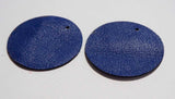 Circle - Laser Cut Shapes 2 Pc - Blue Lambskin Leather