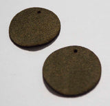 Circle - Laser Cut Shapes 2 Pc - Olive Green Suede Lambskin Leather