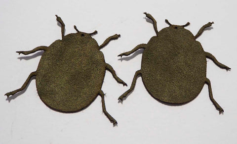 Beetle - Laser Cut Shapes 2 Pc - Olive Green Suede Lambskin Leather