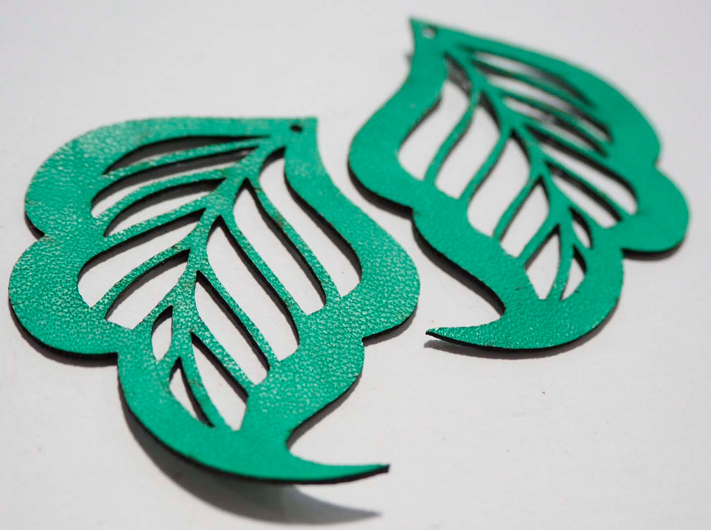 Leaf - Laser Cut Shapes 2 Pc - Emerald Green Lambskin Leather