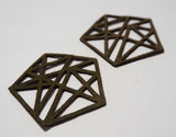Geometric Pentagon - Laser Cut Shapes 2 Pc - Olive Green Suede Lambskin Leather