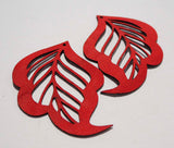 Cut Out Leaf- Laser Cut Shapes 2 Pc - Red Lambskin Leather