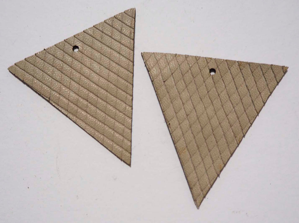 Triangle - Laser Cut Shapes 2 Pc - Taupe Diamonds Lambskin Leather