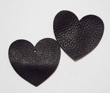 Heart - Laser Cut Shapes 2 Pc - Black Cow Hide Leather