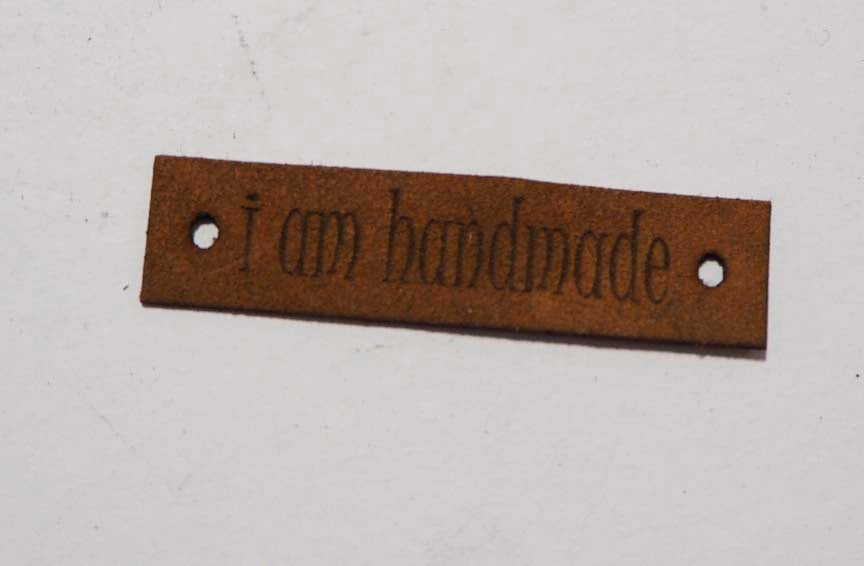 I Am Handmade - Laser Cut Tags 2 Pc - Brown Lambskin Leather