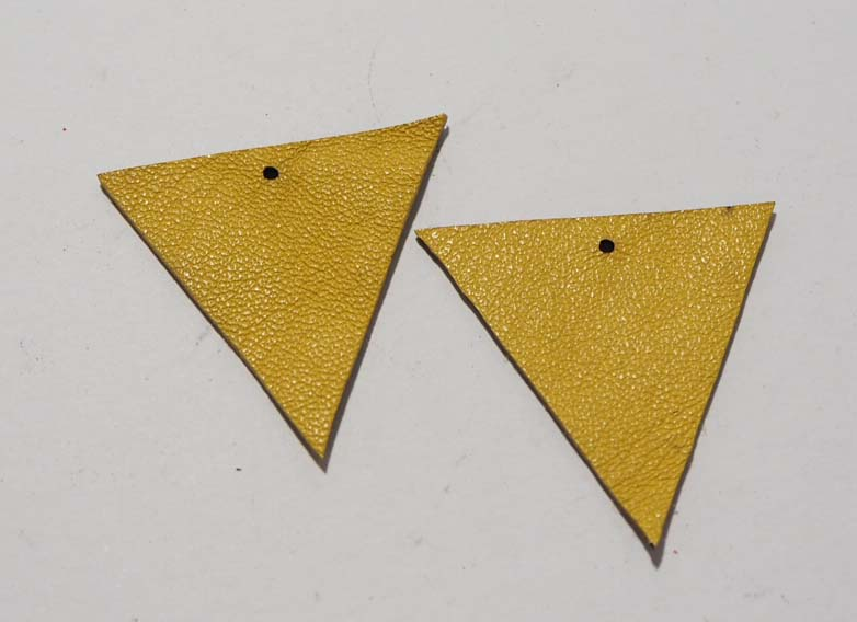 Triangle - Laser Cut Shapes 2 Pc - Bright Yellow Lambskin Leather