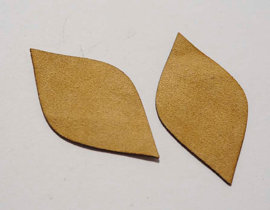 Leaf - Laser Cut Shapes 2 Pc - Beige Suede Lambskin Leather