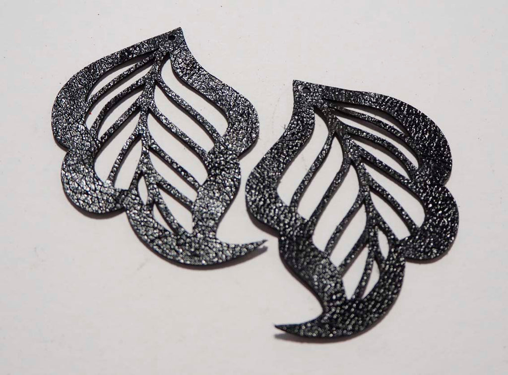 Cut Out Leaf- Laser Cut Shapes 2 Pc - Black Lambskin Leather