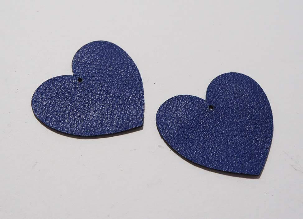 Heart - Laser Cut Shapes 2 Pc - Blue Lambskin Leather