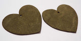 Heart - Laser Cut Shapes 2 Pc - Olive Green Suede Lambskin Leather