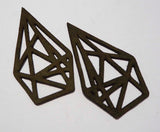 Geometric Diamond - Laser Cut Shapes 2 Pc - Olive Green Suede Lambskin Leather