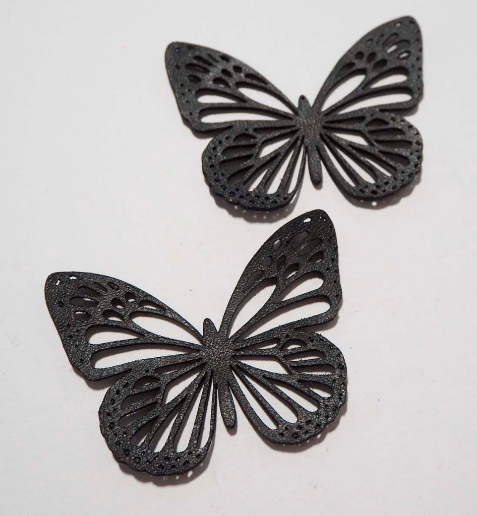 Butterfly - Laser Cut Shapes 2 Pc - Black Cow Hide Leather