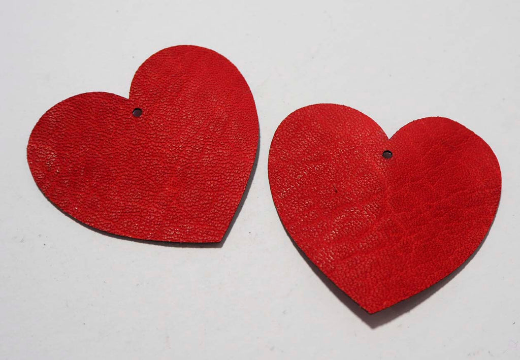 Heart - Laser Cut Shapes 2 Pc - Red Lambskin Leather