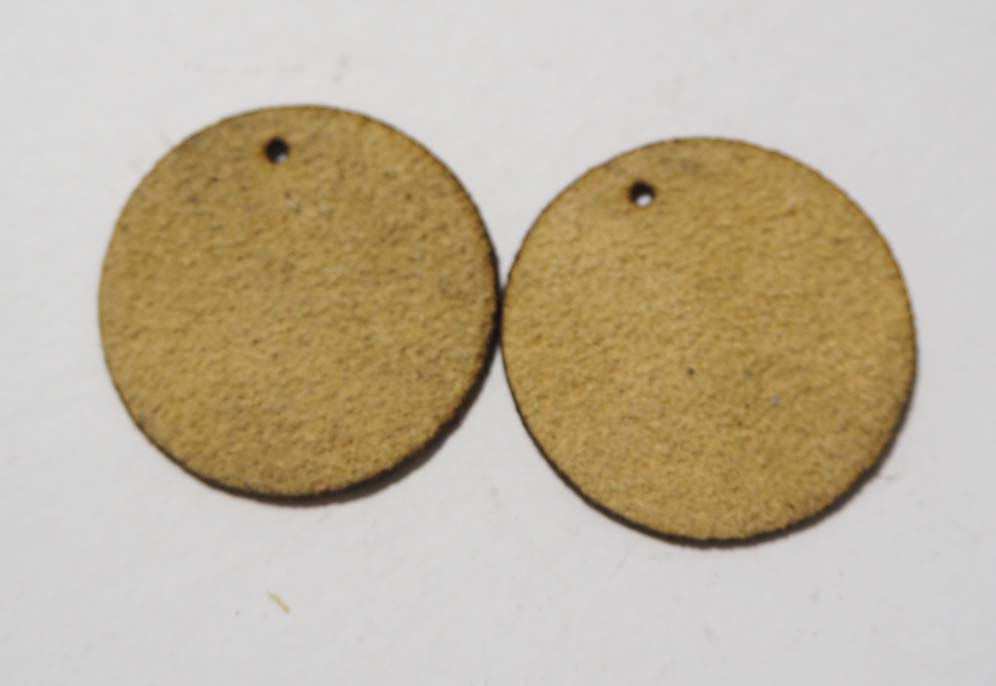 Circle - Laser Cut Shapes 2 Pc - Beige Suede Lambskin Leather