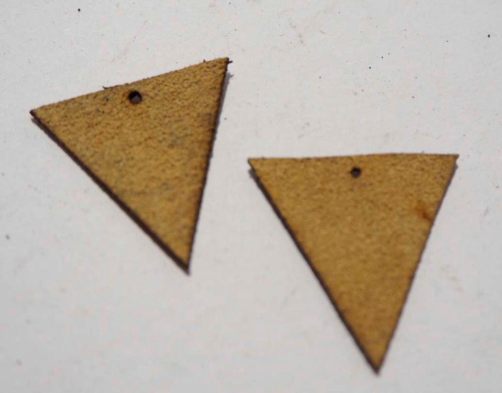 Triangle - Laser Cut Shapes 2 Pc - Beige Suede Lambskin Leather