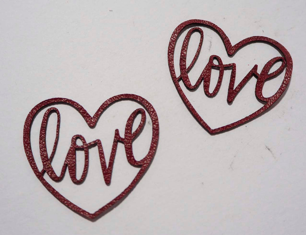 Love Heart - Laser Cut Shapes 2 Pc - Dark Red Lambskin Leather