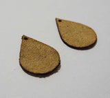 Teardrop - Laser Cut Shapes 2 Pc - Beige Suede Lambskin Leather