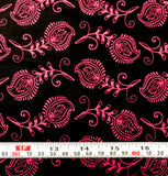 Mixed Medley - Contempo Feathers Fuchsia on Black - Cotton Quilting Fabric