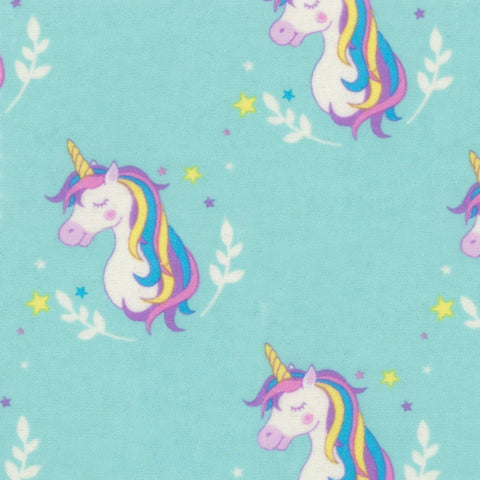 Pretty Aqua Unicorns - EESCO Flannel Cotton Fabric