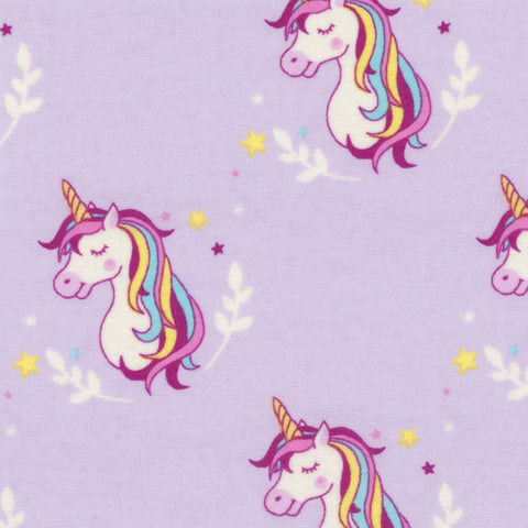Pretty Purple Unicorns - EESCO Flannel Cotton Fabric