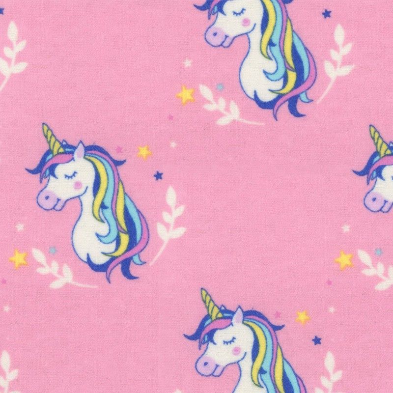 Pretty Pink Unicorns - EESCO Flannel Cotton Fabric
