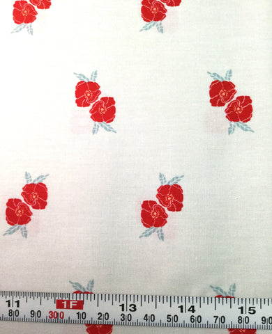 Red Flower Stamp Charm - Love Story by Maureen Cracknell for Art Gallery Fabrics - Premium Cotton